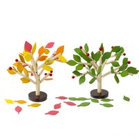 Wholesale kindergarten building toys resale online - Wooden childrens manual insert leaves building blocks kindergarten puzzle disassembly combination toy model leaves baby gifts