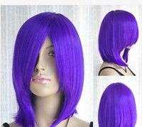ingrosso porpora parrucca media-Spedizione gratuitaNew Hot Fashion Long Bang Purple Medium Straight Cosplay Hair