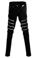 Wholesale mens gothic chain resale online - Betusline Mens Fashion Rock Gothic Punk Revits Jeans Pants Trousers Chain