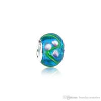 ingrosso collana di vetro blu di murano del tallone-New European Murano Hole Beads 925 Silver Thread Lampwork Vetro Blu Charms Fit Bracciali Pandora Collana Accessori gioielli PDZ12