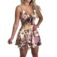 kadınlar için bohem tulumlar toptan satış-2019 Yeni Bahar Yaz Tulumlar Kadın Sundress Plaj Bohemian Moda Çiçek Baskı Seksi Yay V Boyun Kolsuz Gevşek Playsuits Y19071801