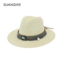 богемский стиль оптовых-Новая коллекция Весна-Лето Богемия Стиль женские джазовые шапки шляпы с широким Birm Женщины соломенная винтажная шляпа Floppy Sun Beach Cap Gorros