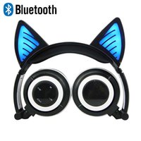 Wholesale cosplay white cat ears for sale - Group buy Amazing Bluetooth Cat Ear Headphones Fancy Glowing Cosplay Kitty Earphone Foldable Cat bear ear Wireless Headset with Mic for PC Smartphones