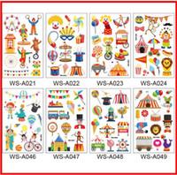 vinilos infantiles mini al por mayor-2019 Rocooart Cartoon Circus stickers para niños Cute Fake Taty Children Tatouage Temporaire Body Art impermeable tatuaje temporal pegatina