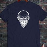 crâne casque achat en gros de-Bandana Casque Skull Dead Haunt Edm Dj Musique T-Shirt Homme Bleu Marine T-shirt Pour Hommes Designer À Manches Courtes 100% Coton Personnalisé Plus La Taille Blanc