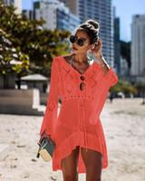 trajes de baño bikini caliente al por mayor-Nueva colores calientes del verano chal de gasa de protección solar y blusas bikini del bikini del traje de baño de limón playa orden MXI Encubrimientos