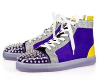 Wholesale most gifts for sale - Group buy Most Prefer Birthday Gift Luxury Party Shoes Spikes Red Bottom Sneaker Flat Men High Top Lace up Sneakers men casual sneaker Wedding c21