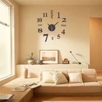 mini espejos de pared al por mayor-40 cm 3D DIY Mini Estilo Moderno Reloj de Pared Espejo Superficie Etiqueta Diseño Home Office Room Decor