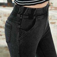 kot pantolon pantolon toptan satış-Lady casual Slim donatılmış Streç Denim pantolon Sıska cep mavi siyah Kot kadınlar için ayak bileği Jeggings tozluk Kalem Pantolon