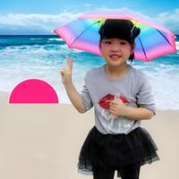kinder sonnenschirm großhandel-Faltbarer Sonnenregenbogen-Regenschirm-Hut scherzt im Freiengolf-Fischen-kampierender Schatten-Strand Headwear-Hauptkappen-Regenschirme LJJA2709
