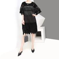 coreano vestido de renda senhora venda por atacado-Novo 2019 estilo coreano mulheres verão preto lace dress com franjas o pescoço plus size senhoras casual mid dress solto robe femme f1028