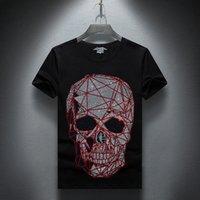 ingrosso camicia di moda depeche-Januarysnow Fashion Designer estivo Top Mens Skulls Strass magliette cotone modale O manica corta Slim Tee Shirt di trasporto