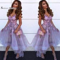 yüksek boyun mezuniyet elbiseleri toptan satış-V Boyun Tül A Hattı Mezuniyet Elbiseleri Arapça Dantel Aplike Yüksek Düşük Prenses Kısa Balo Parti Mezuniyet Elbiseleri