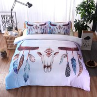 Wholesale 2 Fashion Feather Pattern Bedding Set Golden D Duvet Cover Mandala Boho Bedclothes Feather Pattern King Queen Quilt Cover Set