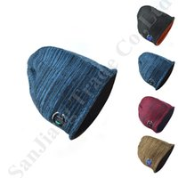 Wholesale free knit crochet patterns for sale - Group buy Champion Knit Fleece Reversible Beanie Winter Skiing Beanies Caps Double sided Outdoor Windproof Snow Hats Sports Crochet Skull Cap C81901