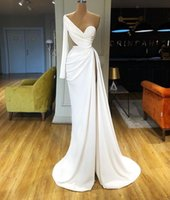 Wholesale two one wedding gown picture for sale - Group buy 2020 New Mermaid Prom Dresses High Side Split Satin One Shoulder Long Sleeve Evening Gowns Sweep Train Custom Made