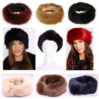 kadın kürkü şapkaları toptan satış-7 renkler ücretsiz gemi seçin Yeni kadın KÜRK şapka kadınlar sahte tilki kürk şapka kışın yetişkin Kürk sıcak bantlar 60 * 11 cm