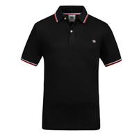 tee-shirt à manches longues à rayures noires achat en gros de-2018 nouveaux hommes T-shirt à la mode O-cou à manches courtes Slim Fit Noir et Blanc Plus La Taille T-shirt Rayé Homme Top Tee
