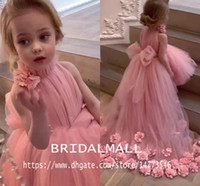 Wholesale white silver flower girl dresses resale online - High Neck Baby Pink Tulle High Low Girls Pageant Dresses With Sash Lovely Little Kids Formal Party Gowns Holy Flower Girls Wedding Dress