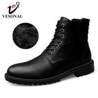 Wholesale plush adult shoes for sale - Group buy VESONAL Winter Quality Genuine Leather Keep Warm Short Plush Work Boots Shoes For Male Adult Fashion High Top Shoes