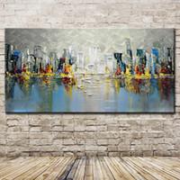 ingrosso incorniciato paesaggio di pittura ad olio grande-Mintura dipinto a mano di grandi dimensioni città edificio paesaggio dipinto ad olio su tela astratta moderna parete poster per la decorazione domestica senza cornice