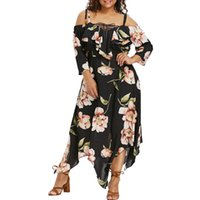 mode kimono blumen großhandel-Feitong Mode-Frauen-Kleid weg von der Schulter plus Größe schnüren sich oben Weibliche Maxi Flowing Blumen lose elegante Partei-Kleid Vestidos Drucken