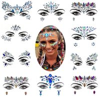 Discount diamond tattoo stickers Diamond Sticker Bohemia Style Glitter Crystal Tattoo Stickers For Women Face Forehead Paster Wedding Party Decorations 39styles RRA1459