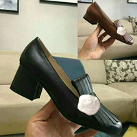 knöpfe für schuhe großhandel-Klassische mittelhochhackige Bootsschuhe Designer Luxus Leder Beruf High Heels Schuhe runder Kopf Metallknopf Frau Abendschuhe Größe 34-42