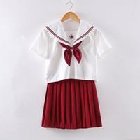 uniformes femeninos de marinero al por mayor-Traje de traje de marinero japonés Kansai, uniformes escolares de verano para mujeres, uniforme escolar JK falda roja + camisa de manga corta