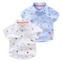 çocuklar için bezler toptan satış-Bebek Giyim 2019 Çocuklar Bez Yaz Bebek Gömlek Çocuk Kısa Kollu Rahat Gömlek Erkek Karikatür Baskı Gömlek Erkek Giysileri