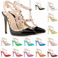 горячие девушки на высоких каблуках оптовых-Горячая обувь женщина партия моды заклепки девушки сексуальные острым носом туфли на высоких каблуках пряжки платформы насосы свадебные туфли