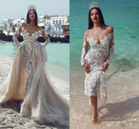 Wholesale vinatge wedding dresses resale online - Champagne Long Sleeves Off Shoulder Mermaid Wedding Dresses With Detachable Train Vinatge Princess Lace Plus Szie Arabic Dubai Bridal Gown