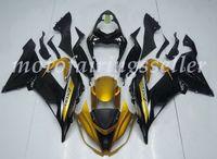 ninja 636 siyah altın toptan satış-OEM Kalite Yeni ABS Enjeksiyon Kalıp Kalafatlama Kawasaki Ninja ZX6R ZX6R 636 13 14 15 16 17 Kaporta set Siyah altın için% 100 Fit kitleri