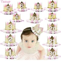 Wholesale kids birthday party decor resale online - Taoup pc One First Birthday Party Hats st nd rd Crown Birthday Hats Number One Party Decors Kids Accessories Newborn Child
