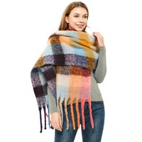 Wholesale braids and twists for sale - Group buy Autumn and Winter New Thicken Loop Yarn Coarse Tassels Color Plaid Twist Braid Scarf Womens Shawl