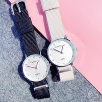 Wholesale couple watches korea resale online - Nylon Strap Fashion Women Watches Korea Couple Quartz Ladies Wristwatch Leather Strap Dress Girlfriend Clock Relogio Feminino
