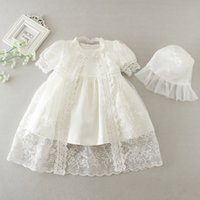 Wholesale baby gown hat for sale - Group buy Newborn Christening Gown Baby Girl Baptism Dress with Hat Lace Bow Short Sleeve Christening Dresses Girls Princess Dress Wedding Dress M