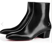 ingrosso marche di stivali a punta per gli uomini-2018 uomini nuovi di zecca stivali di pelle nera stivali da uomo punta a punta zip laterale mujer bota partito scarpe stivaletti rosso fondo uomo