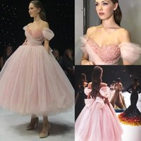 Wholesale nude tulle cocktail dress resale online - Pink robes de cocktail Dress Beads Sweetheart Short Sleeves A Line Long Split Formal Party Evening Celebrity Tulle Prom Dresses Gowns