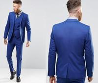 blaue, schmal geschnittene anzugsbilder großhandel-Blaue Farbe Gentle Man Smoking Anzüge Real Image Hübscher Bräutigam Anzüge One Button Slim Fit Hochzeitsanzug für Männer (Jacke + Hose + Weste)