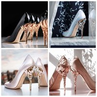 Wholesale Floral Adorned High Heels Wedding Shoes Pointed Toe Wedding Evening Prom Party Dresses Shoe Sexy Ladies Fashions Black Pumps Party Shoes