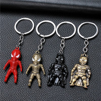 carro clássico levou luzes venda por atacado-17 estilos Clássico Homem De Ferro Pingente Chaveiro The Vingadores aliança LED keychain Mini PVC Action Figure com Luz LED som chaveiro jssl001