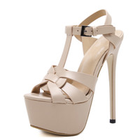 Wholesale sexy sandals for summer resale online - 2019 hot style in Europe and America big yards for women s shoes cm high with waterproof computer new women s sexy high heeled sandals in