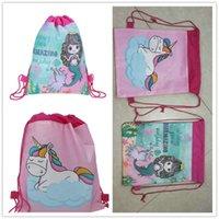 ingrosso zaini del sacchetto del partito-Unicorno Mermaid Drawstring Bag Bambini Cartone animato Zaino Sport Borsa a tracolla Magica Borsa da viaggio per esterni Tasca Regalo del partito A342