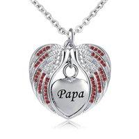 herz birthstone halskette großhandel-Angel Wing Urn Halskette für Asche Feuerbestattung Memorial Andenken Herz Anhänger Birthstone Halskette für Papa-Schmuck