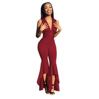 5923f52e461 2019 Summer Sexy Sleeveless Deep V Jumpsuit Women High Waist Flare Pants  Overalls green red Solid Female Slim Fit Flare Jumpsuit