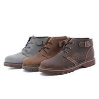 melhores sapatos de inverno sapatos de couro venda por atacado-Outono e Inverno New Fashion Shoes For Men melhor qualidade e couro genuíno Ao Ar Livre Sapatos Casual Box