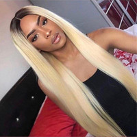 Wholesale 613 hair color black women resale online - 1B Blonde Ombre Remy Brazilian Straight Full Lace Wig Pre Plucked Lace Front Human Hair Wigs for Black Women