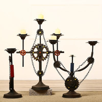 Wholesale centerpieces candles for sale - Group buy Wrought Iron Retro Nostalgia Industry Wind Candlestick Furnishing Articles Candle Holders Dinner Decoration Wedding Centerpieces