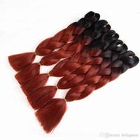 Wholesale kanekalon braiding hair free shipping online - Belllqueen omber Synthetic crochet hair extensions Ombre Kanekalon Brading Hair Extension g Jumbo Braiding Hair